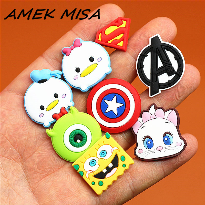 Single Sale 1pcs Mickey Minnie Shoe Charms Novel Cartoon Shoe Accessories Avengers Garden Shoe Decoration For Croc Jibz Kids U50