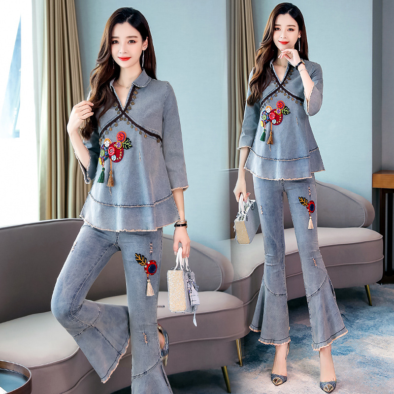 Ethnic-Style Denim Suit Female Autumn New Style 2019 Fashion Casual Autumn Vintage Western Style Bell-bottom Pants Two-Piece Set