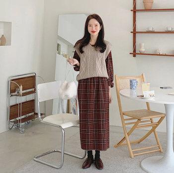 Girls sweater Autumn knitting vest Suits plaid Women Dresses Female Dress long suit Robe Femme Vestido Vintage Sell separately 1