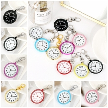 цена на Multicolor Ultra-thin Round Dial Keychain Nurse Quartz Pocket Watch with Key Chain Ring FOB Watch Gifts for Men Women Students