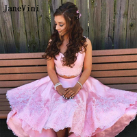 JaneVini Elegant Pink Two Pieces Satin Homecoming Dresses High Low 2019 Strapless Lace Appliques Long Prom Dress for Graduation
