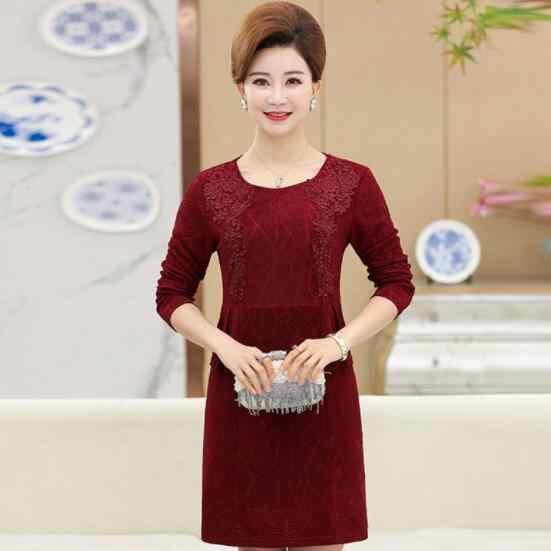 Vestidos de manga larga vestido de Madre de mediana edad 2019 primavera otoño nuevo elegante encaje diamante OL mujeres Oficina vestido de trabajo DV448