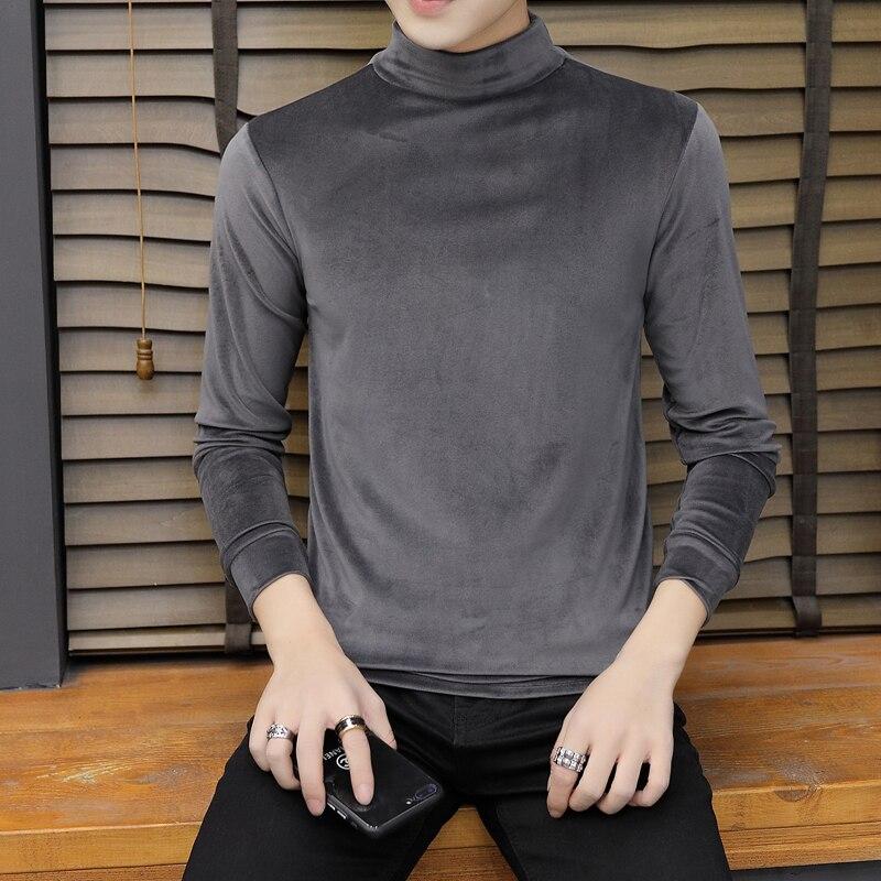 Pullover gold velvet sweatshirt men 39 s long sleeved top half high collar autumn shirt men 39 s solid color Slim pullover sweatshirt in Hoodies amp Sweatshirts from Men 39 s Clothing