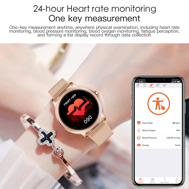 Super Slim Fashion Women Smart Watch 2021 Full Touch Round Screen Smartwatch for Woman Heart Rate Monitor For Android and IOS 3