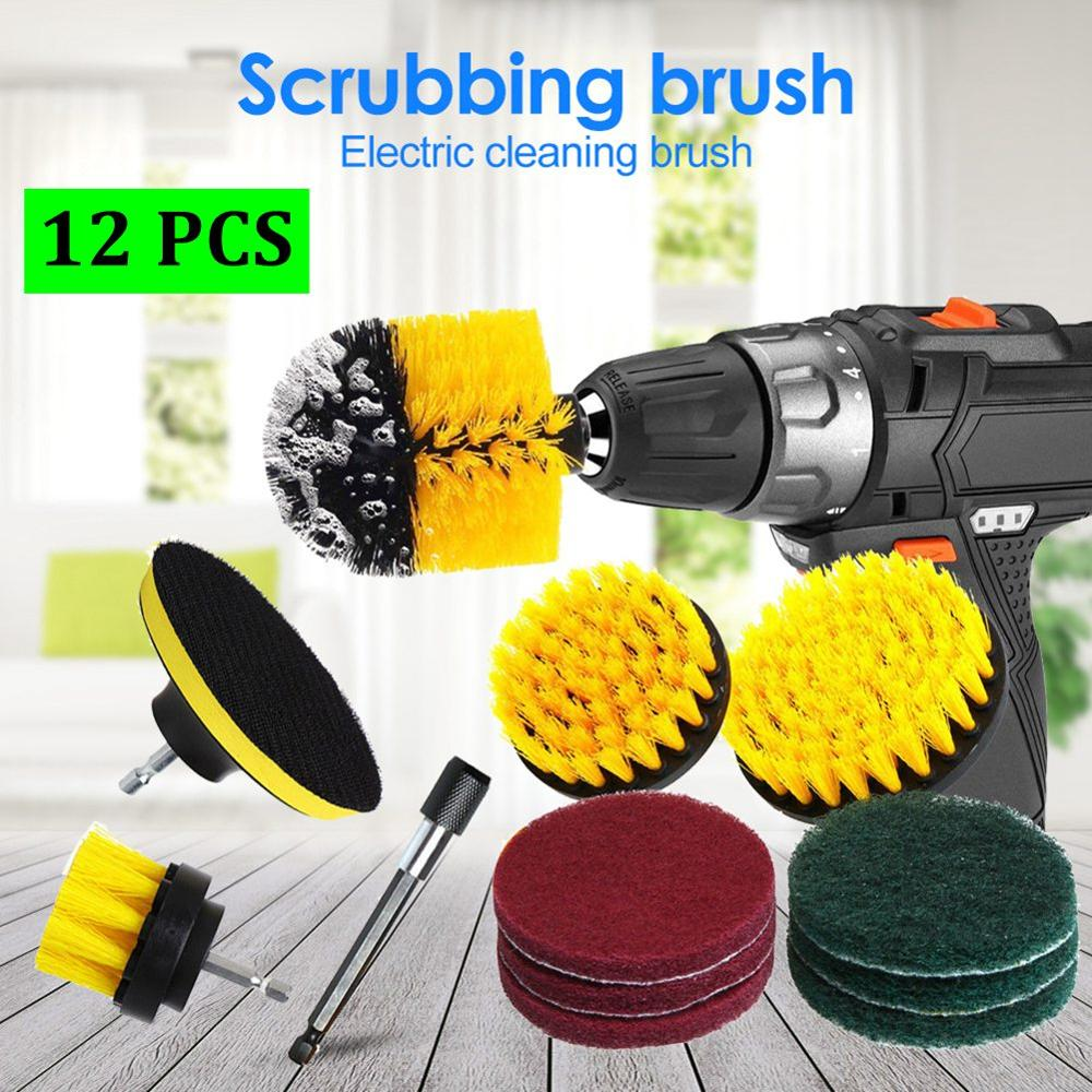 12 pcs set power scrubber brush drill brush clean for bathroom surfaces tub shower tile grout cordless power scrub cleaning kit