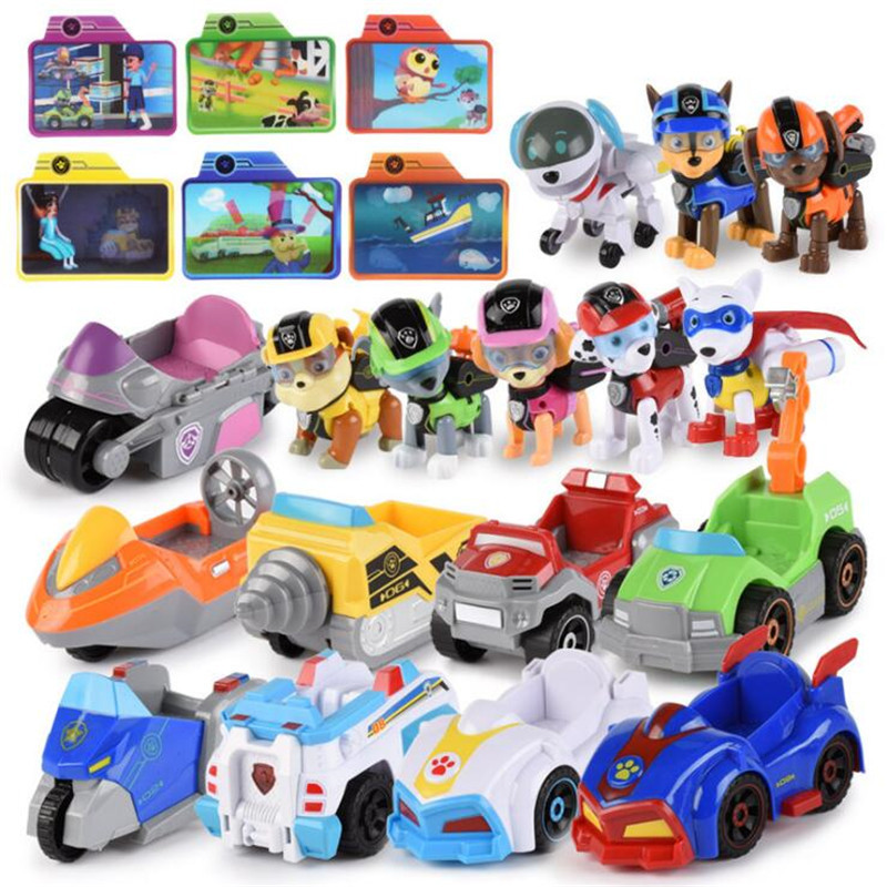 Paw Patrol Music Rescue Vehicle Pull Back Car Set Anime Action Figure High Quality Model Cars Toys Child Birthday Xmas Gifts