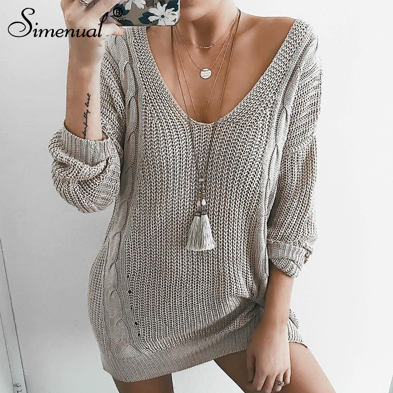 Simenual Knitted Twist Women Long Pullover Sweaters Autumn Winter V Neck Fashion Long Sleeve Jumpers Female Solid Grey Sweater