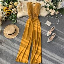 SINGRAIN ผู้หญิง Lace Hollow OUT Jumpsuits ฤดูร้อนเกาหลีเซ็กซี่ Backless O คอ Patchwork ขากว้าง Rompers 2020(China)