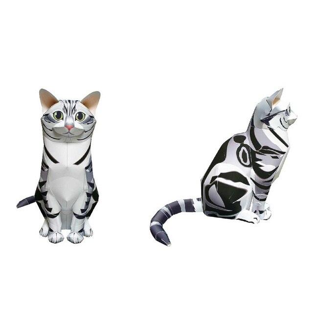 American Shorthair Cat Folding Cutting Mini Cute 3D Paper Model Papercraft Pet Animal Figure DIY Kids Adult Craft Toys QD-066 2