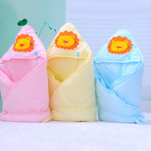 Newborn Cotton Quilt Soft Knitted Cotton Sleeping Bag Cartoon Baby Wrapped Quilt Kid Bathing Blanket Bedding