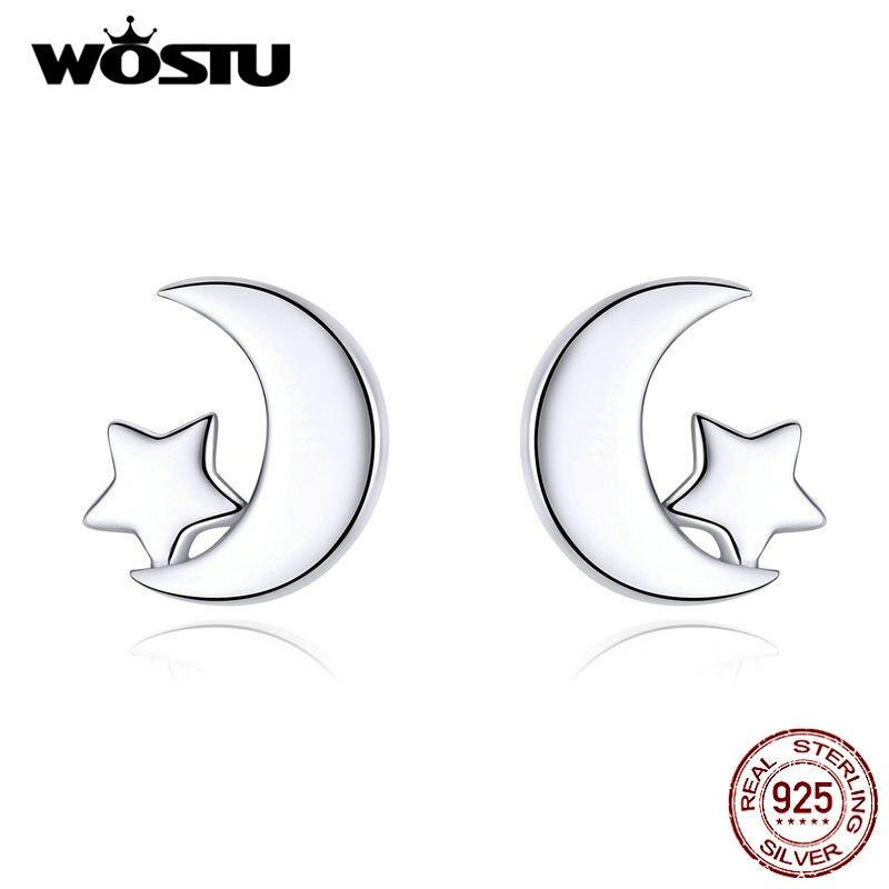 WOSTU New Moon & Star Earrings 100% Real 925 Sterling Silver Earrings For Women Hot Fashion Jewelry Gift Making CQE726