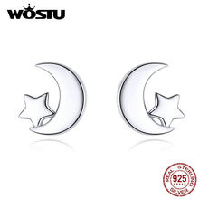 Wostu Bulan & Bintang Anting-Anting 100% Real 925 Sterling Silver Anting-Anting untuk Wanita Hot Fashion Perhiasan Hadiah Membuat CQE726(China)