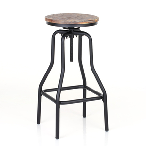 iKayaa Bar Stool Industrial Style Height Adjustable Swivel Bar Stools Natural Pinewood Top Kitchen Chairs Dining Breakfast Chair