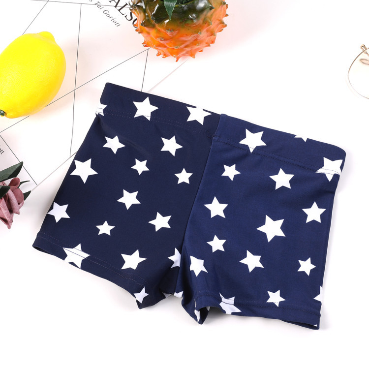 New Style Children's Star Swimming Trunks BOY'S Boxer Swimming Pool 2-16-Year-Old Dark Blue Five Point Star