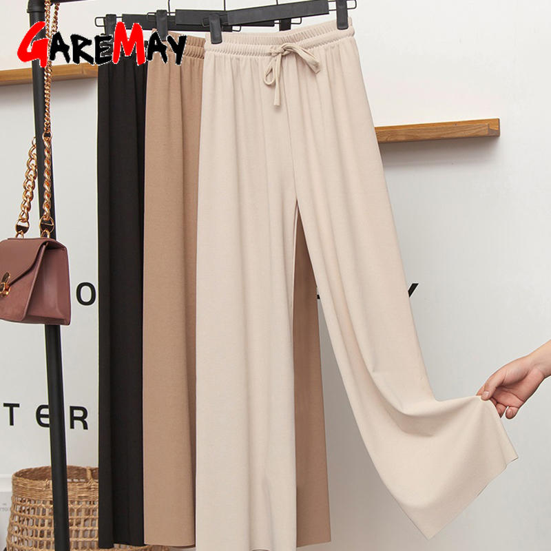 Wide-Leg Pants Trousers Khaki High-Waisted Women's Slacks Grey Soft Loose Ice-Silk