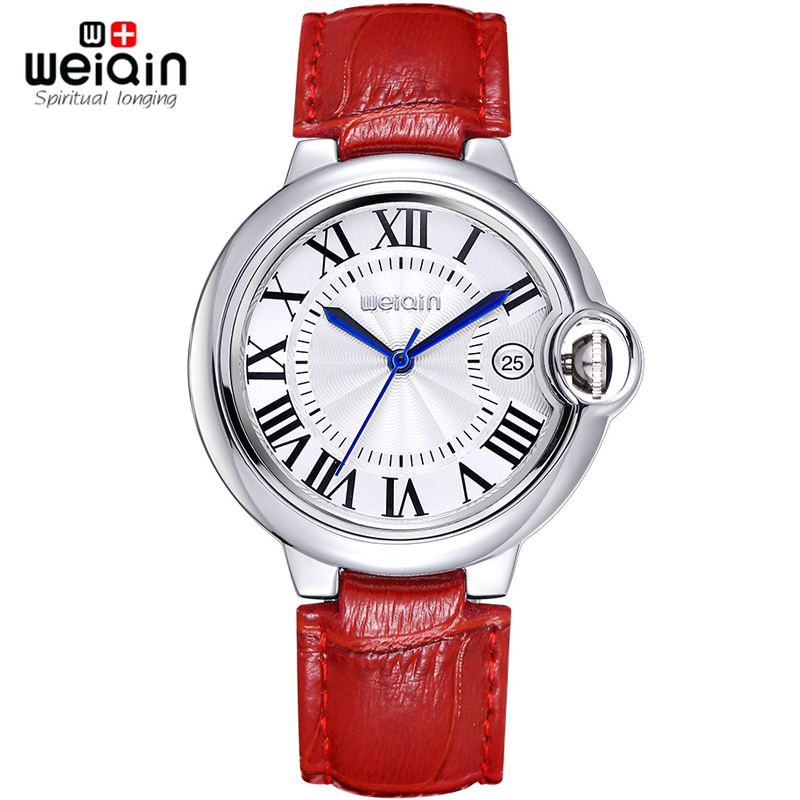 WEIQIN Date Rome Style 50m Waterproof Silver Case Genuine Leather Strap Watches Women Lady Fashion Dress Wrist Watch Hours Clock