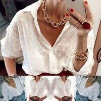Neue Mode Frauen Tops und Blusen Elegante Langarm Weiß OL Hemd Damen Polka Dot Street Stilvolle Persönlichkeit Shirt