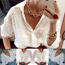 New Fashion Womens Tops and Blouses Elegant Long Sleeve White OL Shirt Ladies Po