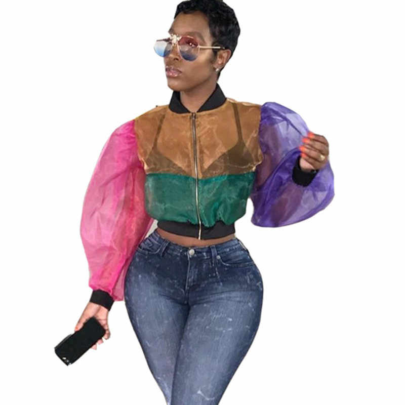 2019 Sexy Transparante Mesh Blouse Shirt Vrouwen Tops en Blouses Kleur Patchwork See-through Bladerdeeg Mouw Rits Dames Top blusa