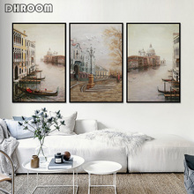 Nordic Water City Landscape Canvas Paintings Modular Wall Pictures Poster Prints Art for Living Room Decoration
