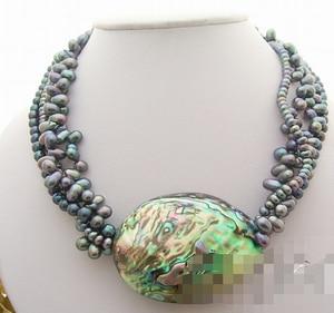 Huij 003648 4Strds Черная жемчужина и ожерелье из ракушек Paua Abalone