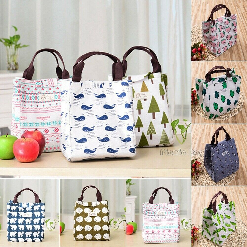 Fashion Lunch Bag Waterproof Thermal Cooler Insulated Lunch Box Portable Tote Storage Picnic Bag