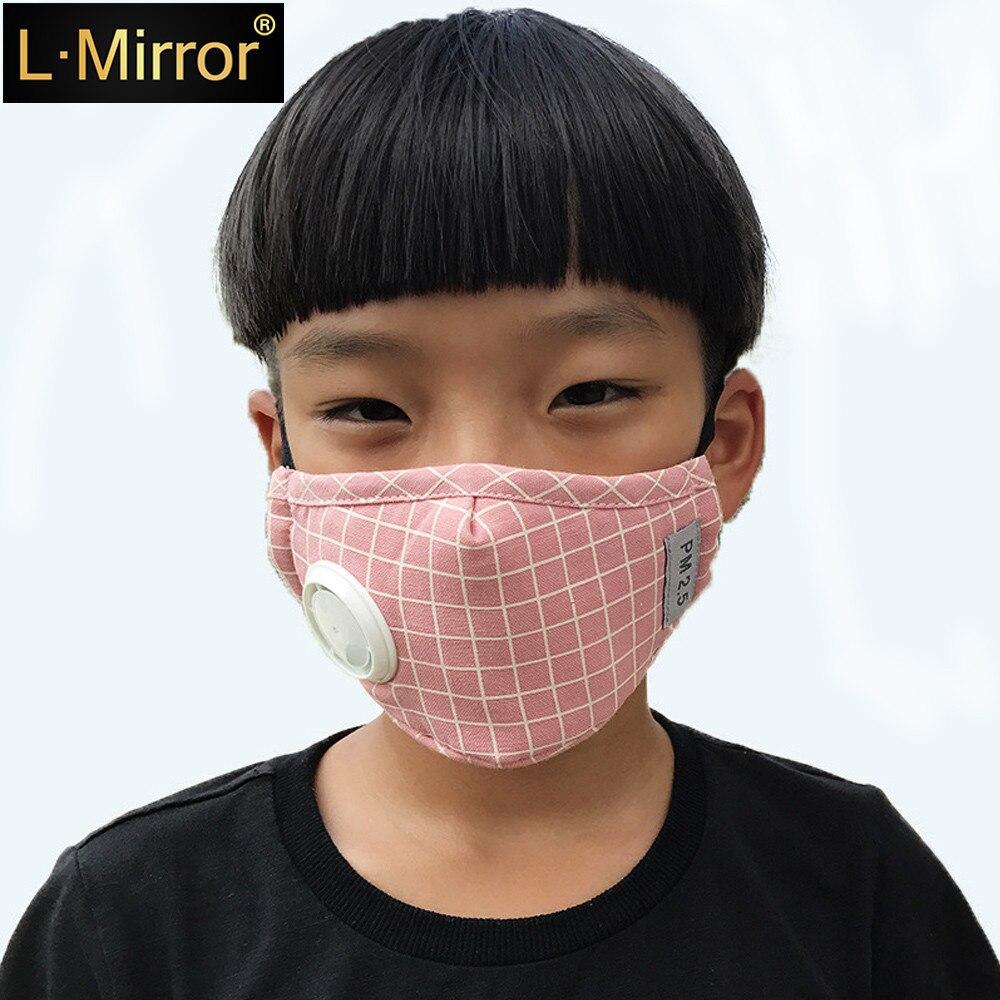 L.Mirror 1Pcs Fashion Children Cotton PM2.5 Anti Haze Mask Breath Valve Anti-dust Mouth Mask Activated Carbon Filter Respirator
