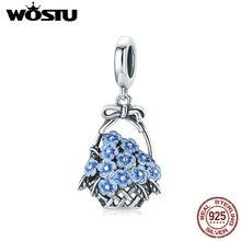 WOSTU 925 Sterling Silver Flower Basket Bead Blue Enamel Charm Fit Original Bracelet Pendant DIY Jewelry CQC1717