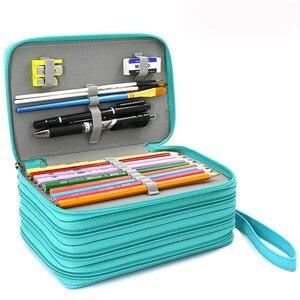 72 отверстия, школьная коробка для карандашей, черный чехол для карандашей для девочек и мальчиков, чехол для ручек, большая сумка для картри...