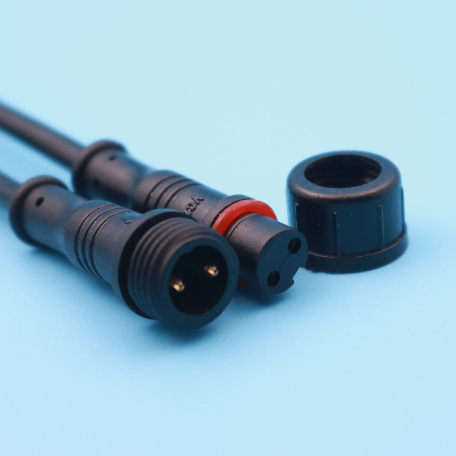 10pcs IP65 Waterproof Connector 0.3mm Male And Female Black Cable Connector Plug & Socket 22AWG 500V 2 Pin