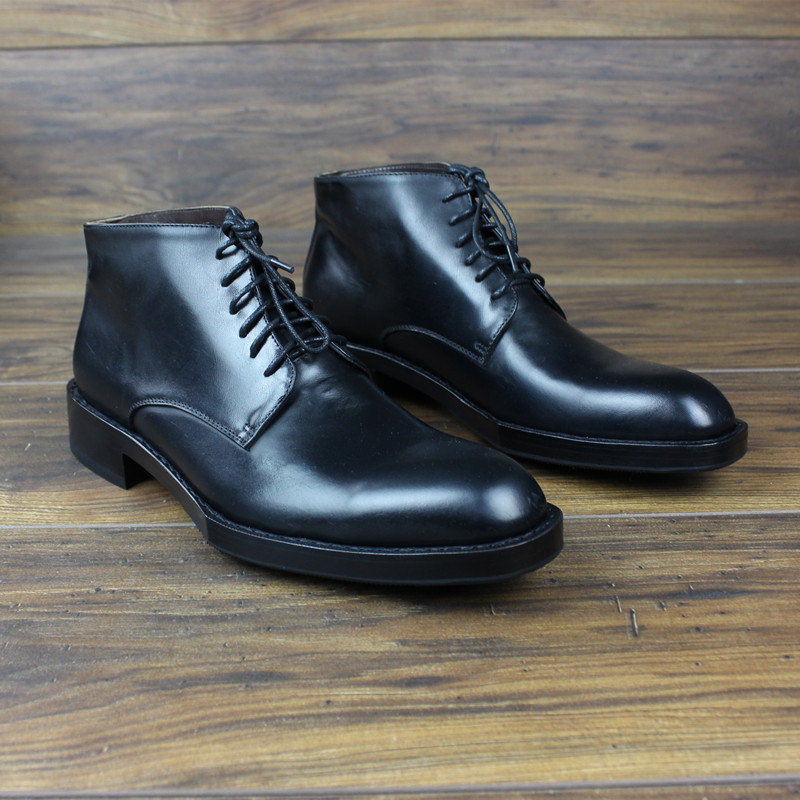 Men Dress Shoes Casual Boots Top Grade Custom-made Shoes Cow Leather Pointed Toe Ankle Genuine Leather Full Grain Leather Zipper