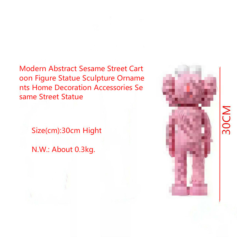 Modern Abstract Sesame Street Cartoon Figure Statue Sculpture Ornaments Home Decoration Accessories Sesame Street Statue