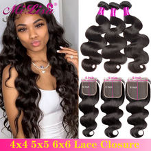 Body Wave Bundle With Closure Human Hair 3 Bundles With Closure Malaysian Hair Mi Lisa Remy 5x5 and 6x6 Lace Closure With Bundle(China)
