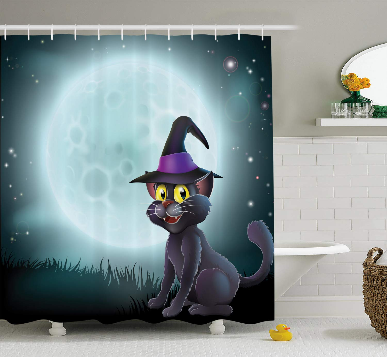 Halloween Shower Curtain Cartoon Cat Wearing Witch Hatr Full Moon