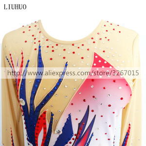 Image 5 - LIUHUO Women rhythmic gymnastics leotards for girls performance suit Artistic gymnastics dress Long sleeve Ice Skating dress