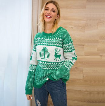 2019 New Christmas Sweater Women Christmas Deer Warm Knitted Long Sleeve Sweater Jumper Top Blouse Winter Coat Women Pullover