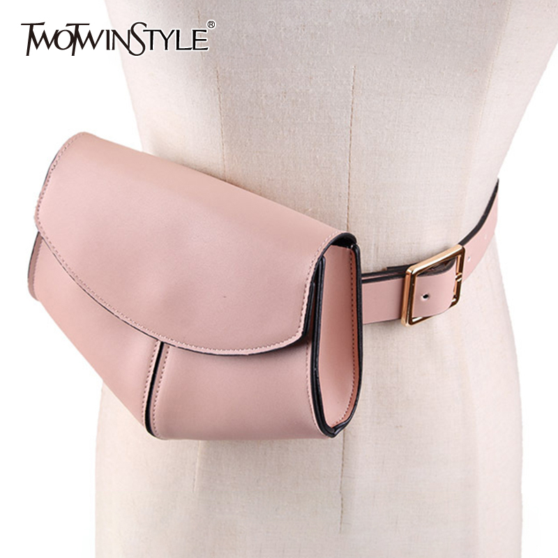 TWOTWINSTYLE Serpent PU Belts For Women With Bag Korean Style Vintage Dresses Accessories Belt Female Summer 2020 Fashion New