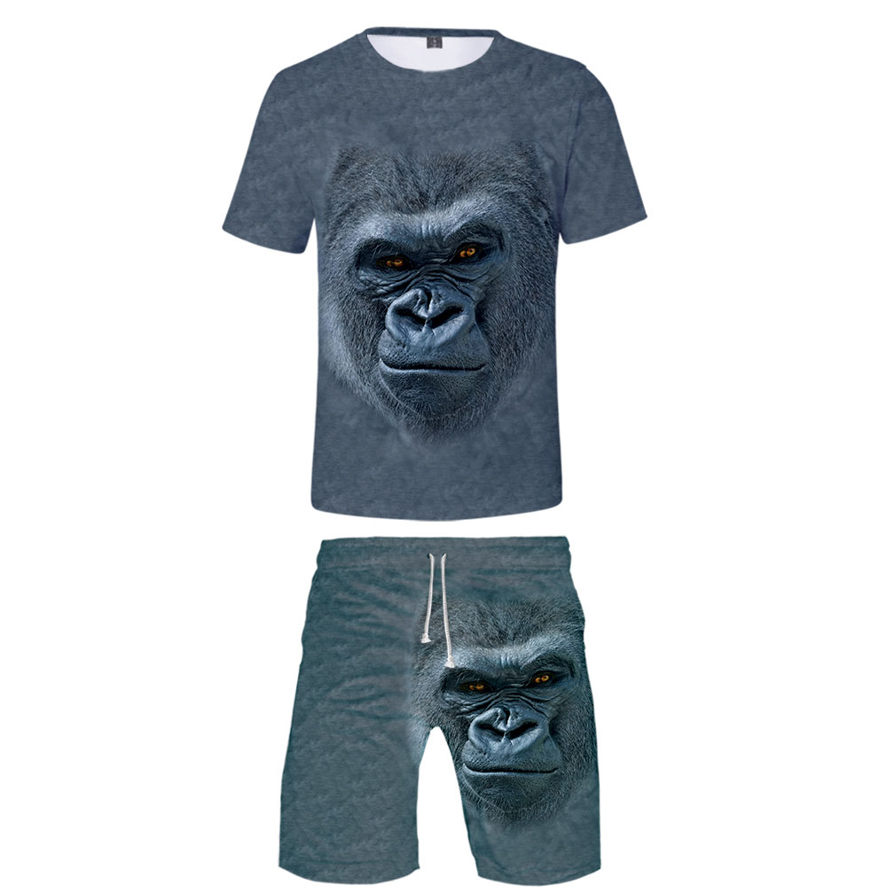 New 3D Animal T-shirt + Beach Shorts Male / Female Hip Hop Summer Casual 3D Chimpanzees Print Boy / Girl Two-piece Fashion Cool