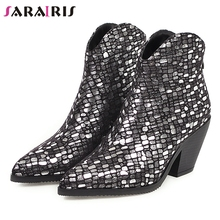 SARAIRIS New Winter Plus Size 33-46 Brand Designer Booties Lady Fashion Bling Ankle Boots Women Party High Heels Shoes Woman 2017 new men s fashion bling bling party ankle boots for men brand designers winter boots plus size 38 46