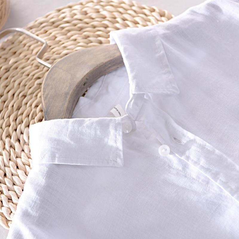 Image 4 - 男性春と秋のファッションブランド日本スタイルヴィンテージソリッドカラー 100% リネン長袖シャツ男性カジュアルスリムフィットシャツカジュアル シャツ   -