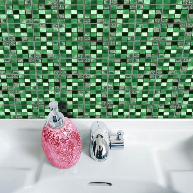 19Pcs Mosaic Tile Wall Sticker Self Adhesive Pvc Waterproof Tiles Decals Diy Kitchen Bathroom Home Wall Sticker Vinyl 3D 4