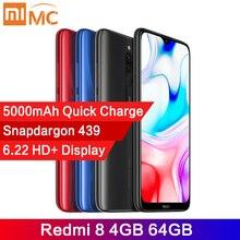 Глобальная версия Xiaomi Redmi 8, 4 Гб 64 ГБ, Восьмиядерный процессор Snapdragon 439, AI камера 12 МП, мобильный телефон, 5000 мАч, быстрая зарядка, CE сотовый телефон