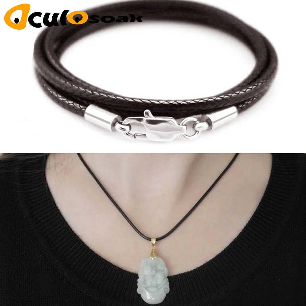 Biżuteria akcesoria naszyjnik przewód 1.5mm 2mm 3mm czarny skórzany przewód wosk liny łańcuch ze stali nierdzewnej karabińczyk do naszyjnik DIY