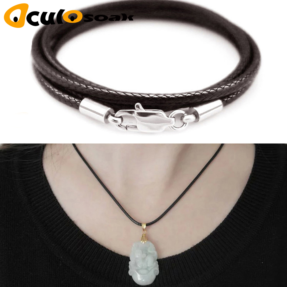 Jewelry Accessories Necklace Cord 1.5mm 2mm 3mm Black Leather Cord Wax Rope Chain Stainless Steel Lobster Clasp For DIY Necklace