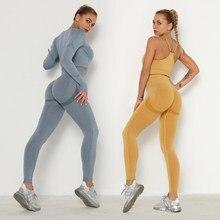 Conjunto de yoga sem emenda das mulheres roupas de treino conjuntos de ginástica roupas de fitness atlético wear esportes correndo leggings sutiã yoga terno