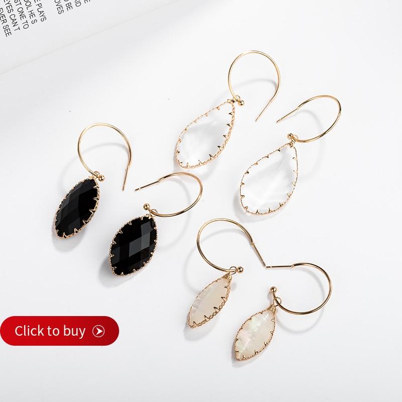 Square Colored Glass Branch Earrings Two Tone Drop Ear Hook Wedding Jewlery Deco