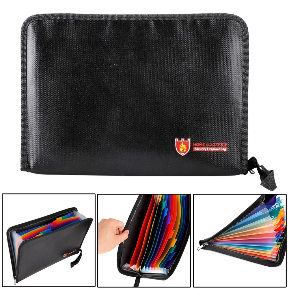 Fireproof File Folder Portable Water Resistant Document Bag Bills Storage Organizer For Home School Office Document Storage