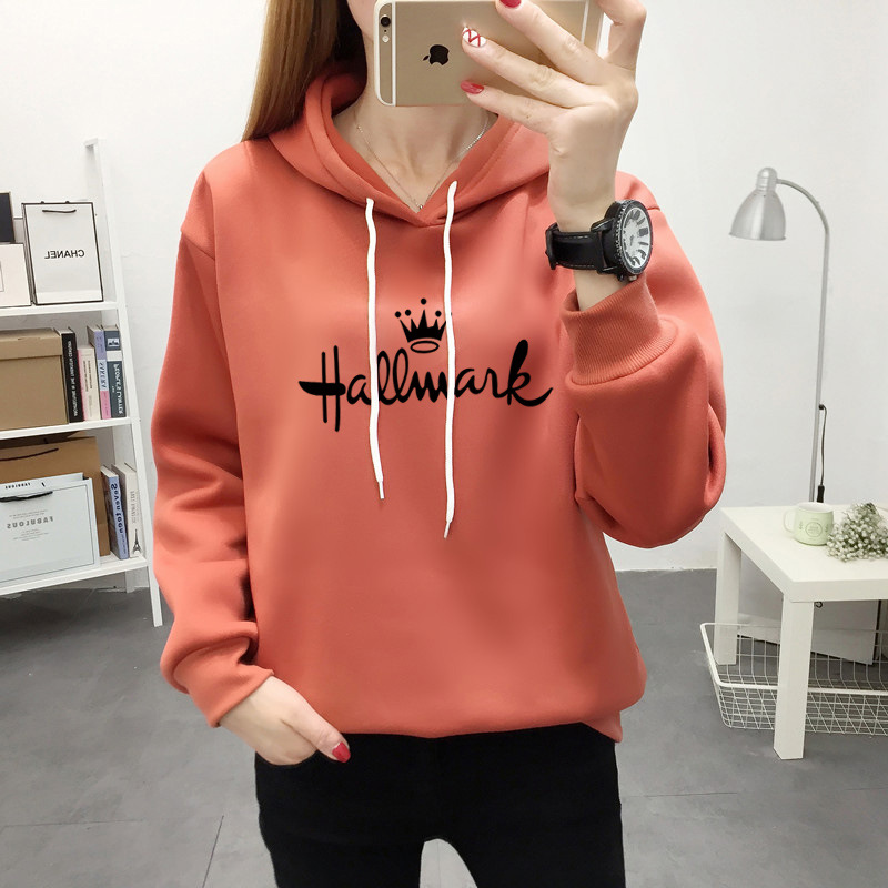 Autumn And Winter Large Size Loose Women's Printed Letters Crown Long Sleeves Thick Casual Hooded Pullover Sweatshirt Women