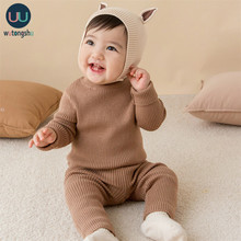 3pcs Baby Boys Girls Clothing Sets Warm Girls Boys Suit Baby Winter Knitting Pullover Sweater+Pants + Hat Infant Knit Sweaters