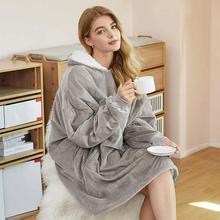 Ciepły zimowy TV Sofa koc z kapturem naprawy domu pluszowy koc z kapturem bluza Pure Color Plus polar kurtka leniwy koc tanie tanio CN (pochodzenie) Sofa lazy blanket Podróży Pościel